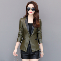 Suede jacket woman 2019 Spring Autumn Stylish Designer slim blazer for womens lapel collar leather jacket blazer women
