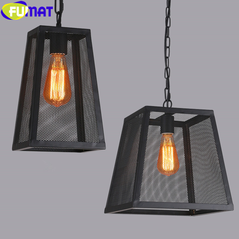 FUMAT Loft American Vintage Industrial Pendant Lamp Iron Pendant Light Living Room Bar Restaurant Iron Net Lighting Fixture new loft vintage iron pendant light industrial lighting glass guard design bar cafe restaurant cage pendant lamp hanging lights