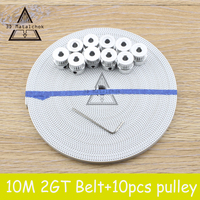 Free Shipping 10pcs 20Teeth GT2 Timing Pulley Bore 5mm 10m 33ft 2GT GT2 Timing Belt 6mm