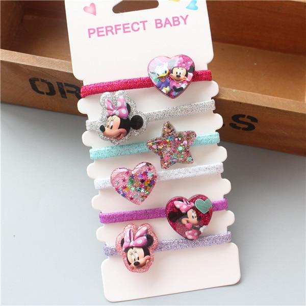 6PCS New Cartoon Cute Cat Elastic Hair Bands Baby   Headwear   Girls Hair Accessories Tie Hair Ropes Children Headdress