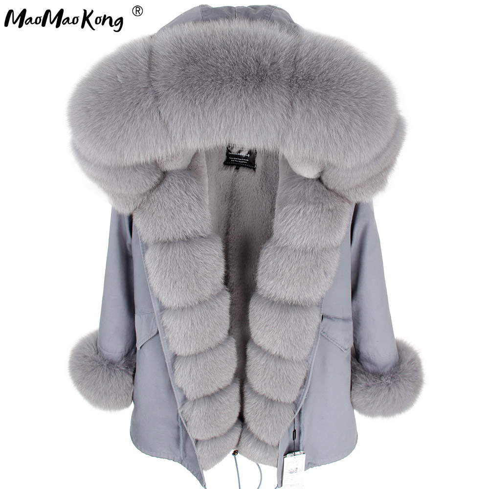 Maomaokong Gray Natural Real Fox Fur Jacket Coats Women Fashion Real Fur Coat Long Parkas Winter Black Parka
