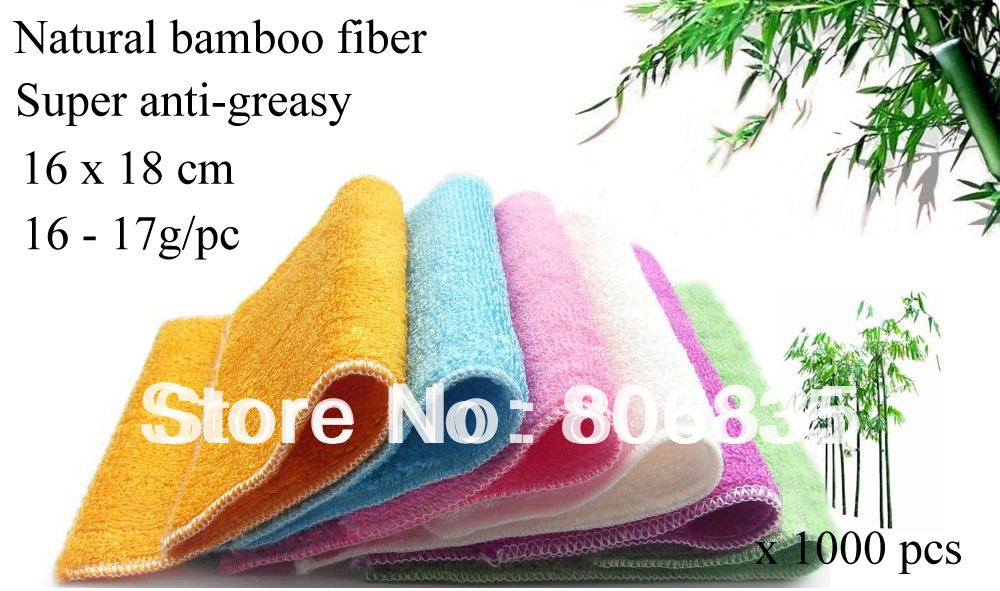1000pcs lot wholesale ANTI GREASY colorful bamboo fiber dish washing cloth magic multi function wipping cleaning