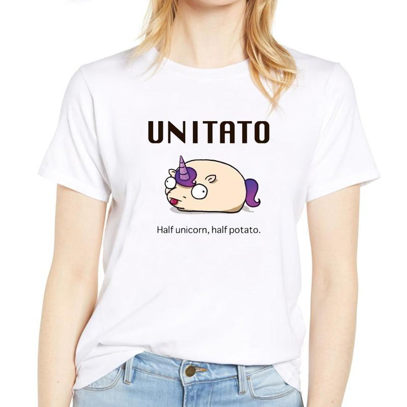 Summer Women 39 s T Shirt Unitato Cartoon Printed harajuku T Shirt Rainbow Half Unicorn Half Potato Humor vintage Tee shirt femme in T Shirts from Women 39 s Clothing