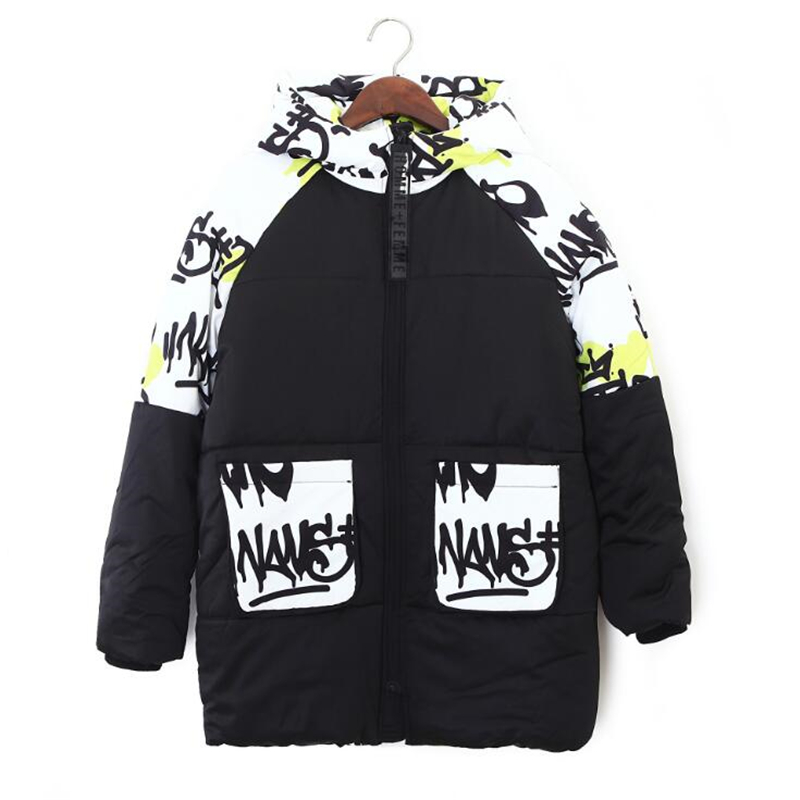 Straße Persönlichkeit Winter Mit Kapuze Tasche Jacke Frauen Lose Parkas Warme Mantel Frauen Kontrast farbe graffiti print Jacke Outwear-in Parkas aus Damenbekleidung bei  Gruppe 3