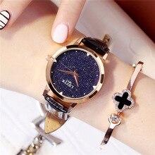 Women Crystal Dress Quartz Wrist Watches Luxury Starry Sky Watch Fashion Black Leather Female Clock relogio feminino reloj mujer цены