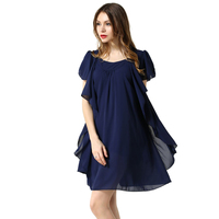 2015 Summer Dress Loose Big Size O Neck Butterfly Sleeve Chiffon Dress L 5XL Plus Size