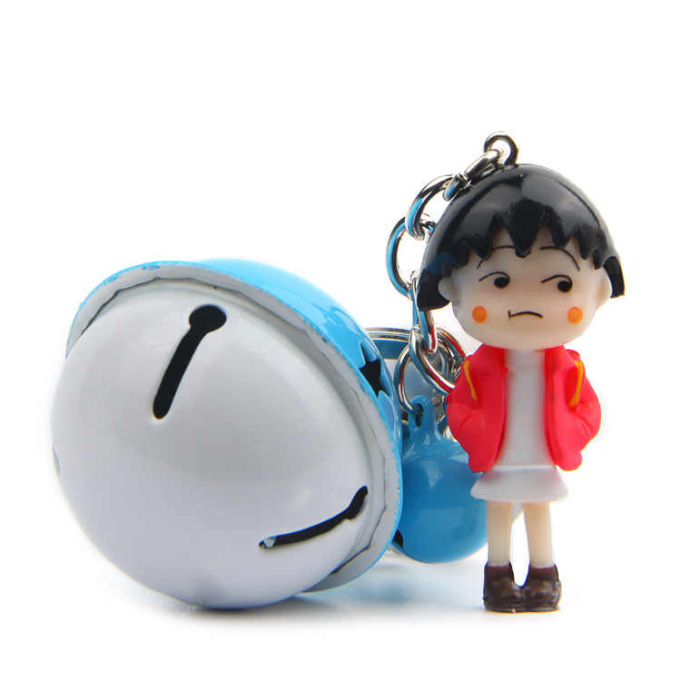 4 pçs/set novo bonito chi bi maruko boneca animação japonesa figura de ação para bell chaveiro chaveiro titular bolsa saco