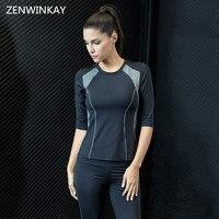 المرأة سريعة الجافة تنفس رياضة دعوى ثلاثة ربع قميص + السراويل ملابس اليوغا مجموعة الجري لياقة الملابس التدريب