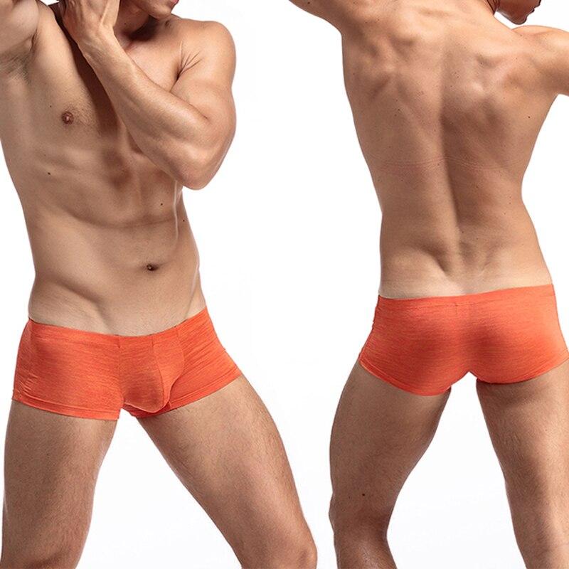 Men Low Waist Boxer Trunks Mini Shorts Bulge Pouch Cotton Underwear Male Mens Soft Super Thin Underpants Multi Colors Plus Size