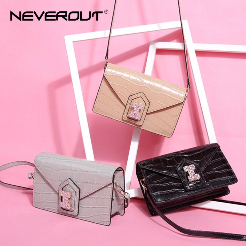 NEVEROUT Luxury Style Name Bag Women Shoulder Sac Split Leather Solid - Bolsos - foto 3