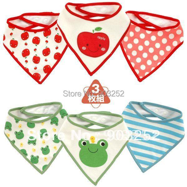 3 Pieces/lot-9 designs Baby Bibs/Baby Waterproof Bibs/Animal prints Cotton Bibs/Strawberry Frog stars