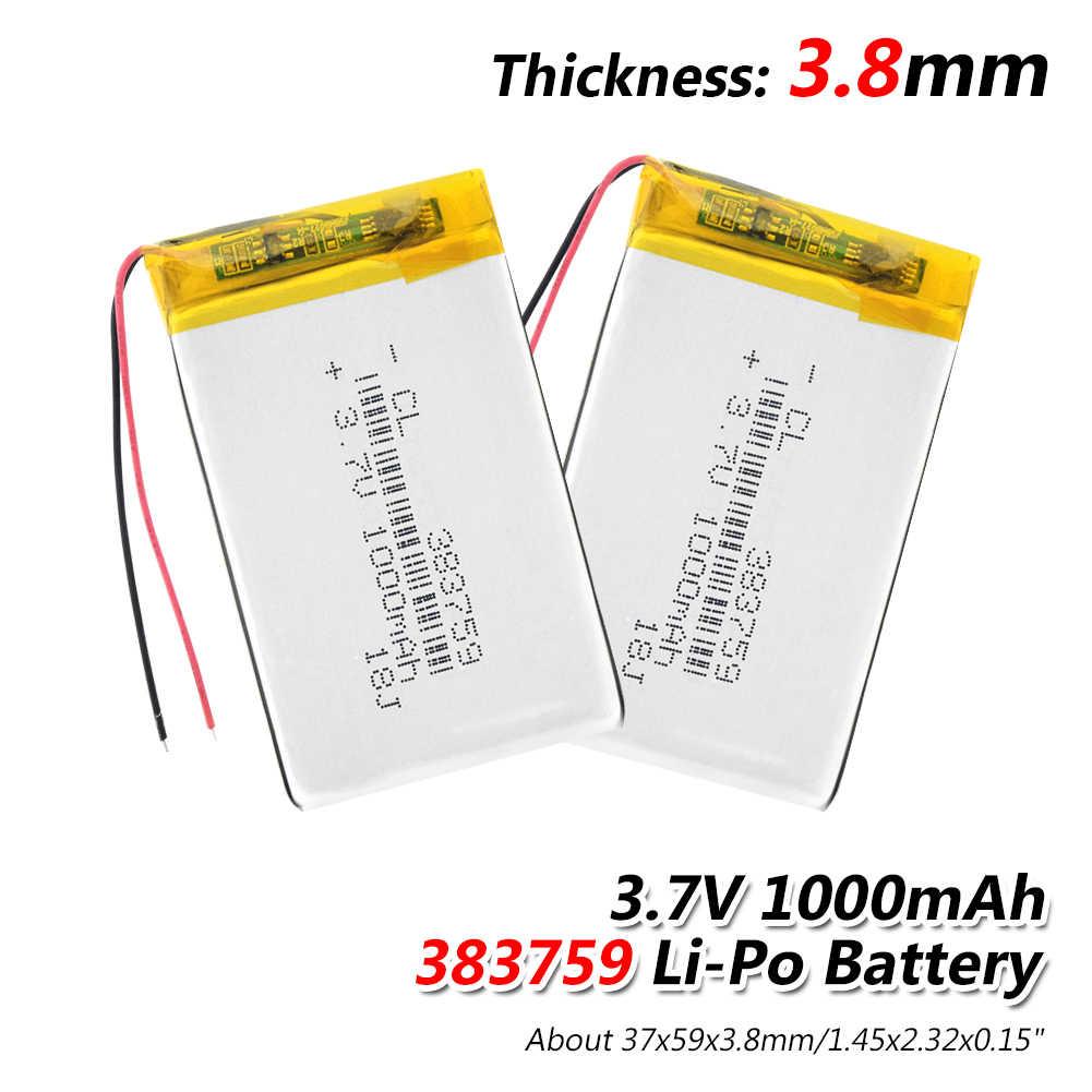 Литий-полимерный аккумулятор 383759 3,7 V литий-полимерный аккумулятор 1000 мА-ч для MP3 MP4 MP5 gps DVD игрушечная Беговая железная дорога литий-полимерная аккумуляторная батарея