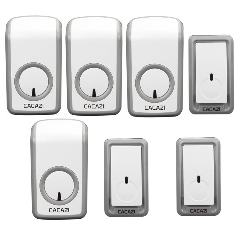 CACAZI wireless doorbell 3 waterproof buttons+4 AC 110-220V plug-in receivers door bell 48 chimes 6 volume adjustable door ring cacazi ac 110 220v wireless doorbell 1 transmitter 6 receivers eu us uk plug 300m remote door bell 3 volume 38 rings door chime