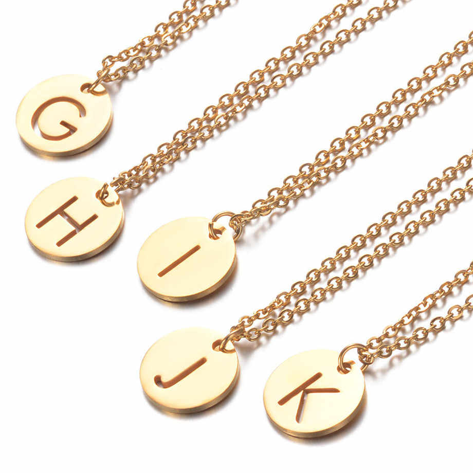 A-Z Custom Name Small Letters Necklaces & Pendant Chain For Men Women Gold Color Stainless Steel English Letter Jewelry Gifts