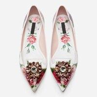 Flower Decor Women Flats Glitter Crystal Embellished Women Shoes Funky Shoe Sapato Feminino Luxury Brand Wedding Party Star Shoe
