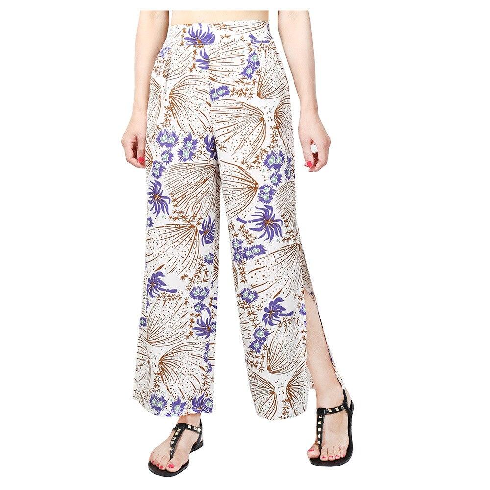 Hoffen New Arrivals Womens High Pose Loose Pants Květinový tisk Boho Pants Split Wide Leg Pants Casual Fashion Nohavice Mujer
