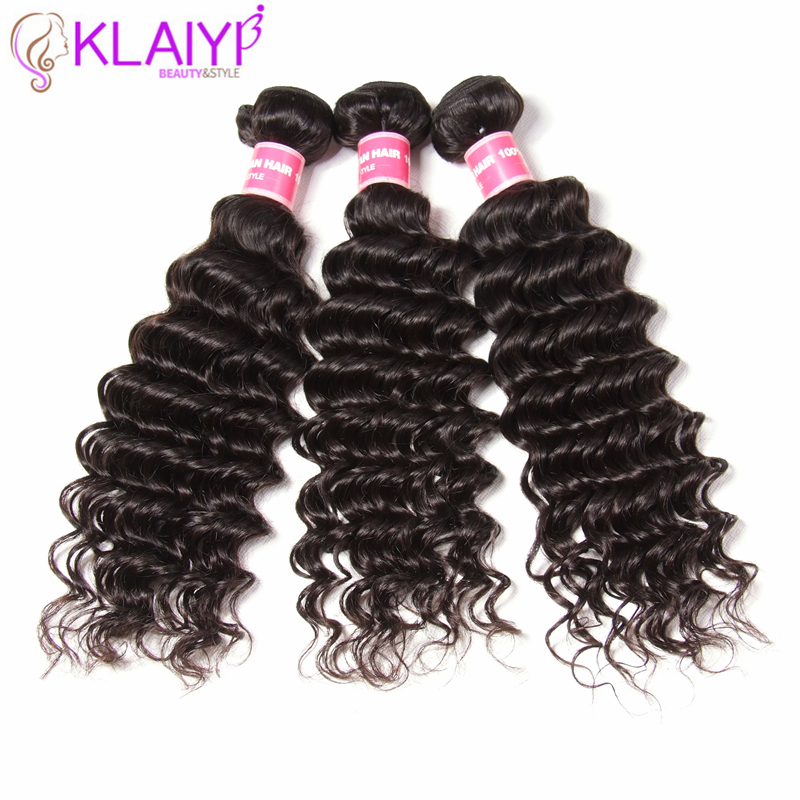 Klaiyi Brazilian Hair Bundles Deep Wave 12-26 Inch Remy Hair 3 Bundles Natural Color Can Be Dyed All Colors 100% Human Hair