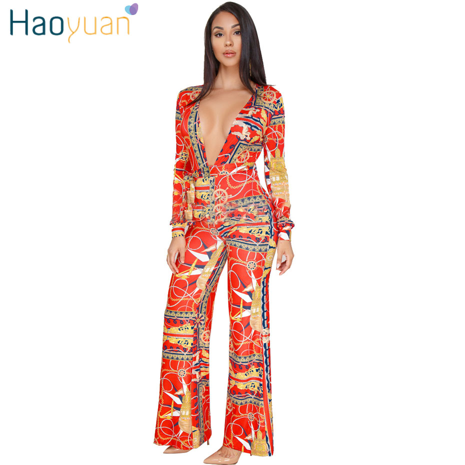 HAOYUAN Plus Size Rompers Womens Jumpsuit Wide Leg Pants Long Sleeve Deep-V Overalls Club Ladies Elegant Bandage Sexy Jumpsuits