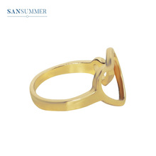 Sansummer 2019 New Hot Fashion Hollow Gold Double Heart Girl Romantic Casual Ins Style Ring For Women Jewelry 727