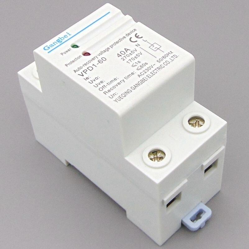 Ricollegare VPD1-60 230 V Din rail di recupero automatico over voltage e under voltage dispositivo di protezione protezione relè di protezione