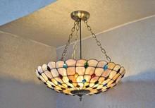 Современная Оболочка подвесной светильник 30-80 см Многоцветный мода деревенский тиффани лампы оболочки столовая подвесной светильник освещения 21 phoeni