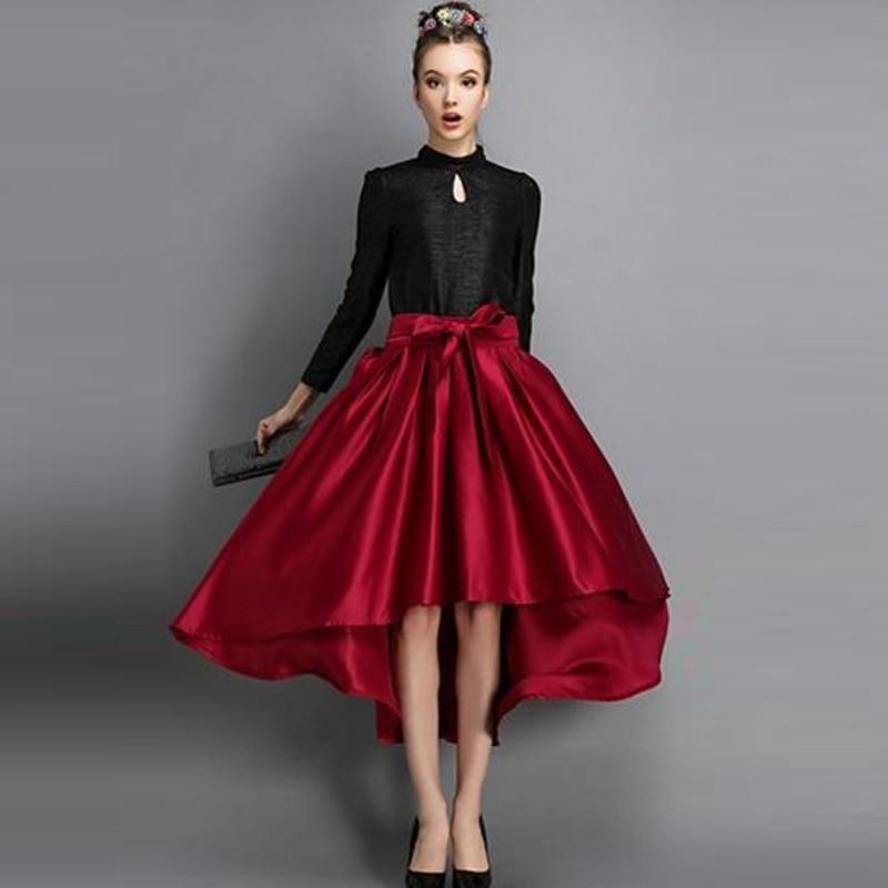 2fb67f9c3 2016 moda de calle tafetán faldas largas con lazos elegantes una línea  Invisible cremallera alto bajo mujeres faldas Maxi hecho A medida faldas