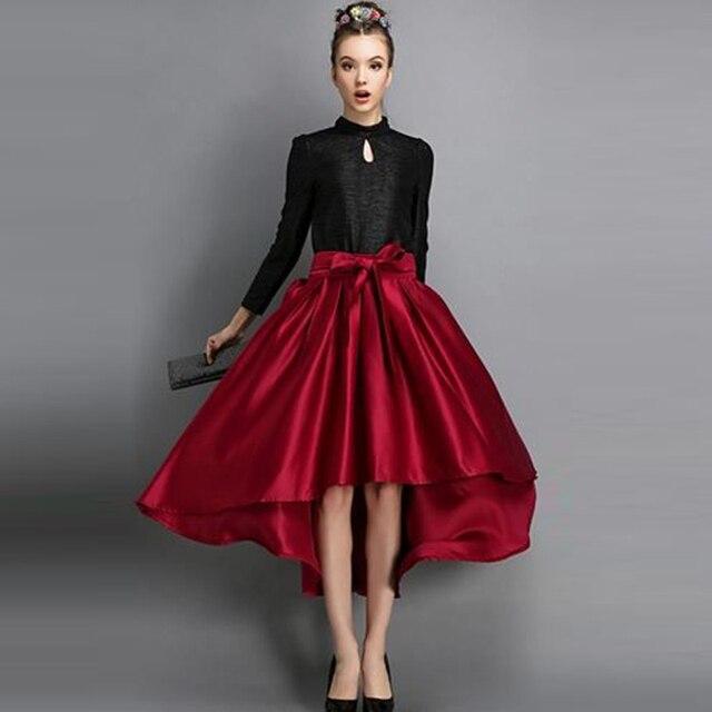 5b0bb755f € 31.21 16% de DESCUENTO|2016 moda de calle tafetán faldas largas con lazos  elegantes una línea Invisible cremallera alto bajo mujeres faldas Maxi ...