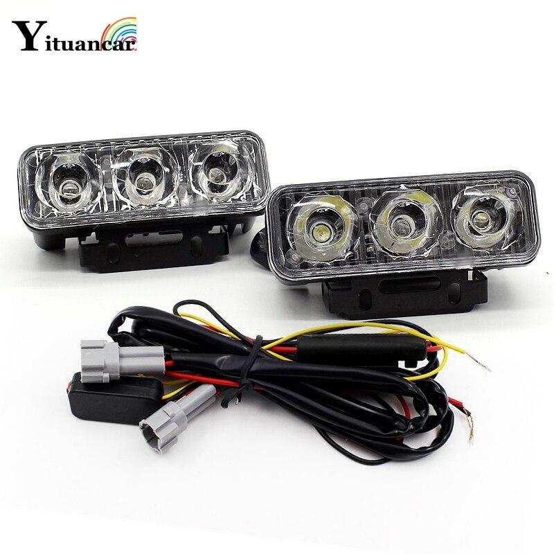 Yituancar 2Pcs/Set Turn Signal Streering LED Strobe Flash DRL Daytime Running Light Car Styling Fog Warning Work Lamp Source