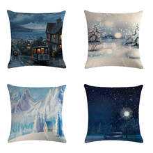 The snow scene of pillow gift series HomerDecor Cushion Cover Throw  Pillowcase Pillow  Covers 45 * 45cm Sofa Seat Cushion Decor цены