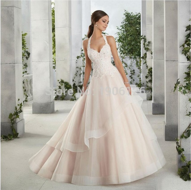 f1a72ec3382 Halter Top Wedding Dresses Plus Size Bridal Gowns Ball Gown Lace Bride  Dresses Organza In Color Low Back Buttons Ruffled Tiered