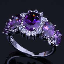 Fascinating Oval Purple Cubic Zirconia White CZ 925 Sterling Silver Ring For Women V0412