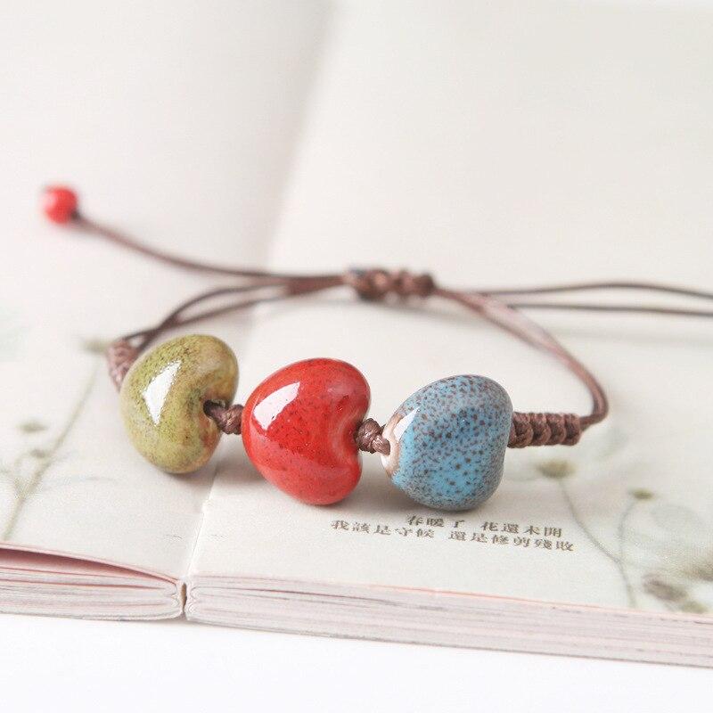 ᗛJoyería China étnica hecha a mano color esmalte corazón cerámica ...