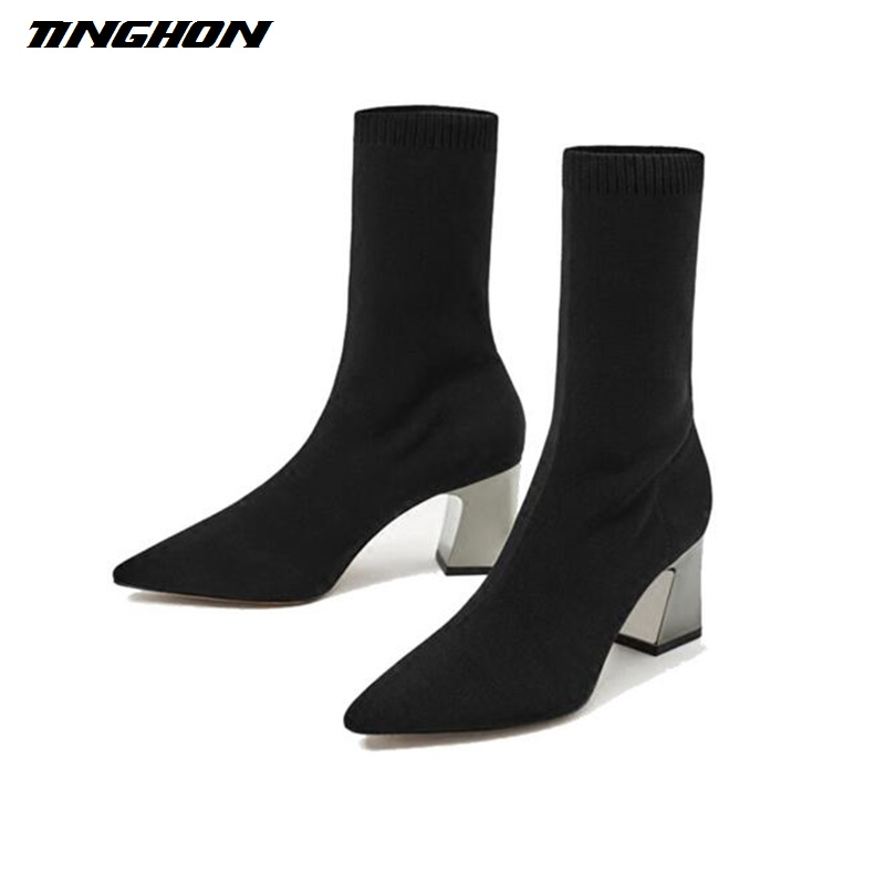 TINGHON Fashion Ankle Elastic Sock Boots Chunky High Heels Stretch Women Autumn Sexy Booties Pointed Toe Women Pump fashion kardashian ankle elastic sock boots chunky high heels stretch women autumn sexy booties pointed toe women pumps botas