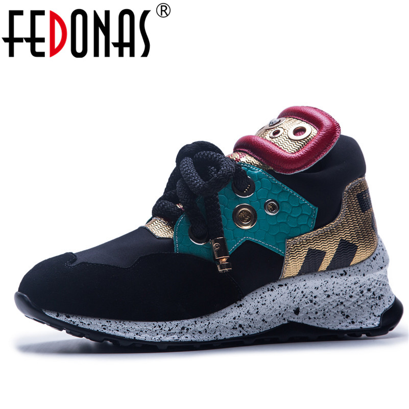 FEDONAS Brand Design Women Genuine Leather Casual Shoes Woman Ladies Sport Sneakers Mix color Wedges Platform