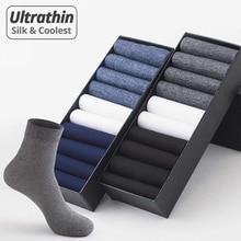 HSS Brand 20Pairs Men Silk Socks High Quality Business Casual Male Long Summer Thin Transparent Ultrathin Stockings