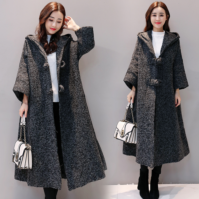 2019 Trench Autumn Winter New Outwear Large Size Women's Solid Color Was Loose Long Windbreaker Hooded Coat Female V494
