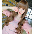 Sexy Ladies Brown Wigs with Neat Bang Long Wavy Curly Hair Wigs Cheap Wigs for Women Synthetic Kanekalon Fibre Party Wig Peluca