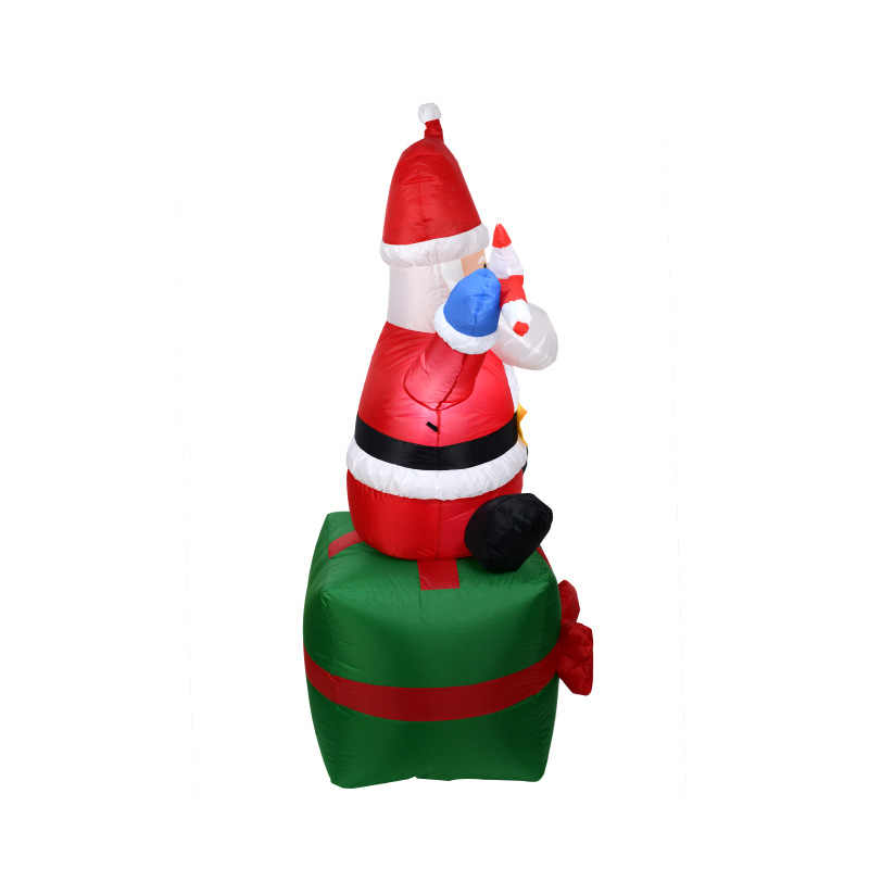 6 Foot 180 CM Inflatable Hands Up Lighted Santa Claus Sitting On The Gift Box Yard Holiday Christmas Decoration With Candy Stick