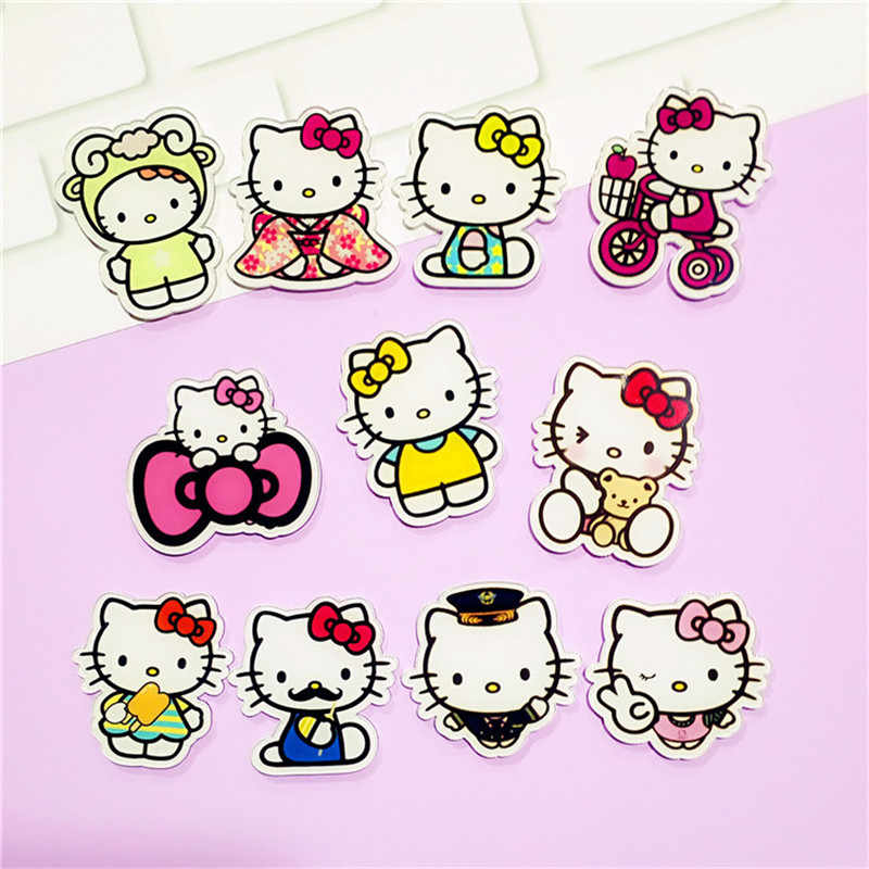 641009be0 11PCS Lovely Cat Cartoon Hello Kitty Acrylic Brooch Clothes Badge  Decorative backpack Decoration Icons Pin Badge