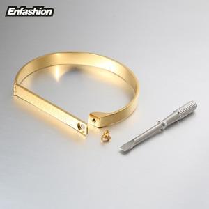 Image 4 - Enfashion Gravur Name Armband Gold Farbe Bar Schraube Armreifen Liebhaber Armbänder Für Frauen Männer Manschette Armbänder B4003 M