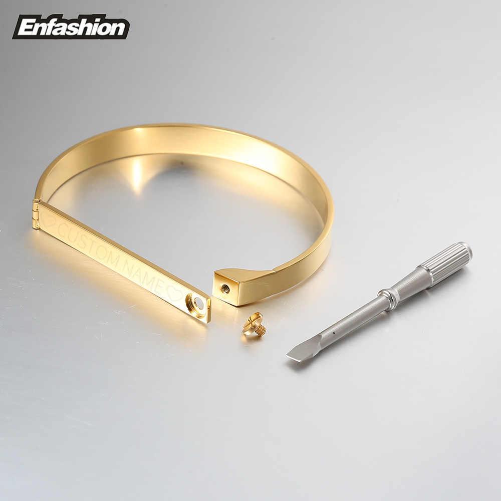 Enfashion ส่วนบุคคลแกะสลักชื่อสร้อยข้อมือทองสีบาร์กำไลข้อมือสร้อยข้อมือผู้หญิงผู้ชาย Cuff สร้อยข้อมือกำไลข้อมือ