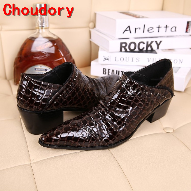 Choudory Luxury Men Oxford Shoes Fashion Pointed Toe Strap Crystal Leather Dress Shoes Men Flats Wedidng Party Shoes