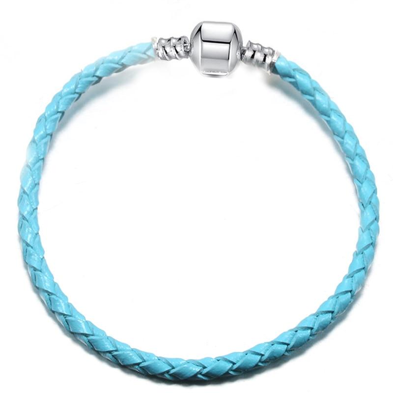 BAOPON, Прямая поставка, высокое качество, 9 цветов, кожаная цепочка, браслеты с подвесками, сделай сам, прекрасный браслет для женщин, девушек, ювелирное изделие, подарок - Окраска металла: Blue-1
