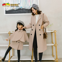 Winter Parent child Korean Version of Cape Vest Skirt Two Pieces of Long Woolen Coat Mommy and Me Clothes