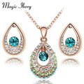 Magic Ikery Fashion Jewelry  Platinum Plated Angel Tear India Crystal Jewelry Sets with necklace earring for women MKZ2028