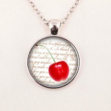 new cherry glass pendant necklace explosion models popular in Europe and America pendant necklace men and women
