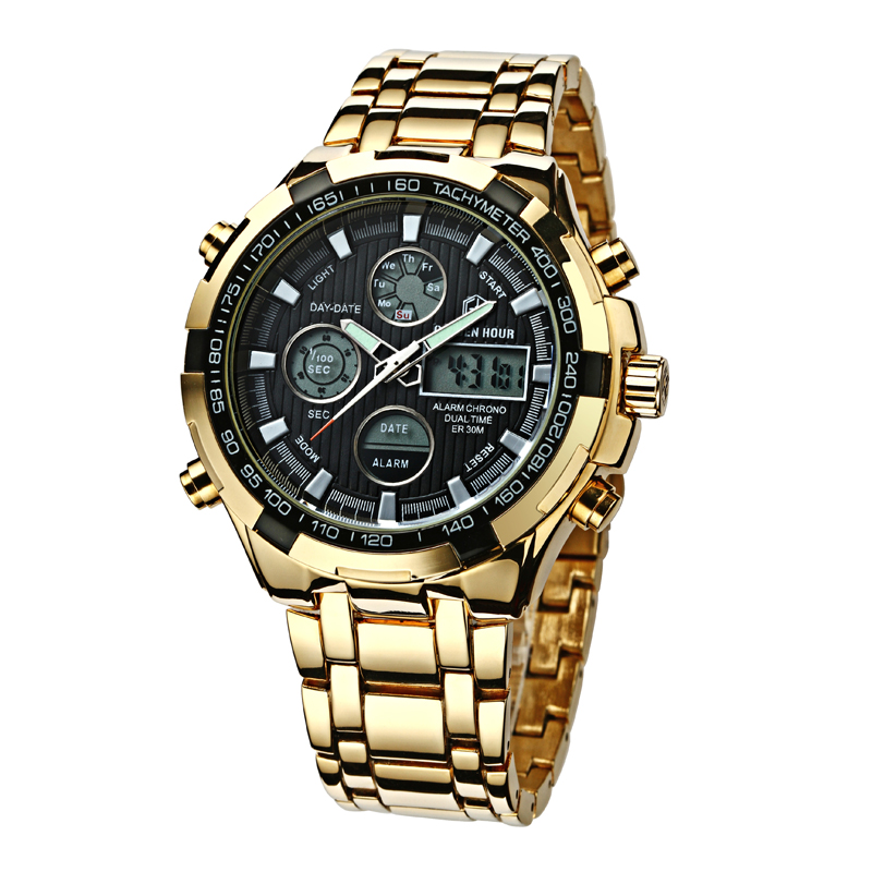 Full Steel Gold Watch Mens Military Sport Wristwatch Led Digital Back Light Watches Men Relogio Masculino