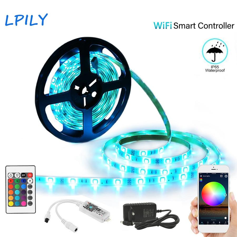 WIFI Led Streifen 5 mt 10 mt 15 mt Led Streifen Licht 2835 5050 DC 12 v LED Band Rgb flexible IP65 Wasserdichte led Band wifi Controller Kit