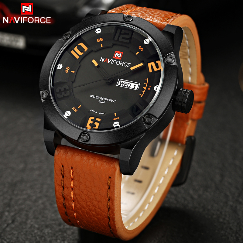 Luxury Brand Naviforce Men Sports Watches Men's Quartz Hour Day Date Clock Male Casual Watch Leather Strap Military Wristwatch high quality luxury brand men sports waterproof watches quartz hour clock men leather strap montre homme with auto date