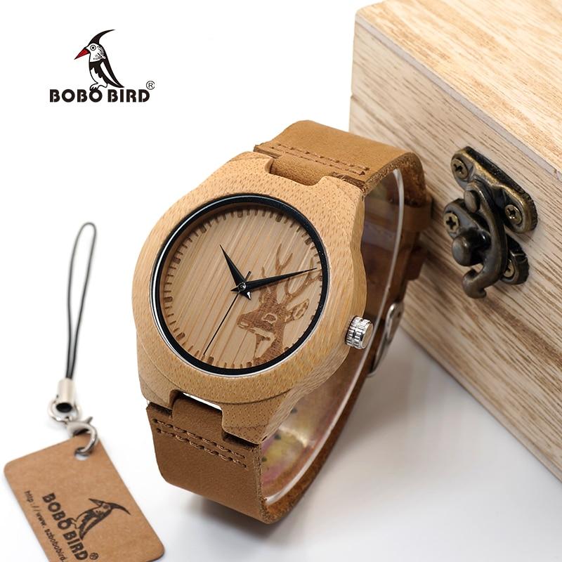 Бобо птица WF29 Лось Олень стилей бамбукового дерева часы горячих женщин Элитный бренд кожаный ремешок деревянные наручные часы деревянная к...